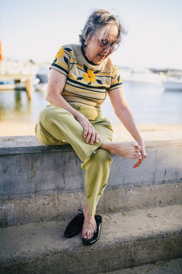 woman suffering from a diabetic ulcer